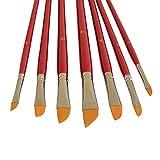 7 Künstlerpinsel Set Schrägpinsel schräg Pinsel repino® Schrägzieher Pinselset für Acrylfarbe Aquarellfarben