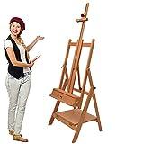 Artina Profi Atelierstaffelei Napoli als Künstler Studio Staffelei aus massivem Buchenholz - verstellbare Holzstaffelei für Leinwände bis 150 cm Höhe geeignet