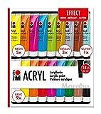 Marabu 1210000000209 - Acrylfarben Set Effect, mit 18 x 36 ml Farbe, 9 x Basic, 5 x Neon, 3 x Metallic und 1 x Glitter, auf Wasserbasis, für viele Untergründe geeignet, schnell trocknend, wasserfest