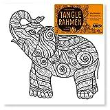 CAGO Tangle Bilderrahmen Elefant 20x20cm für Zentanglefreunde zum Ausmalen Fantasie Leinwand