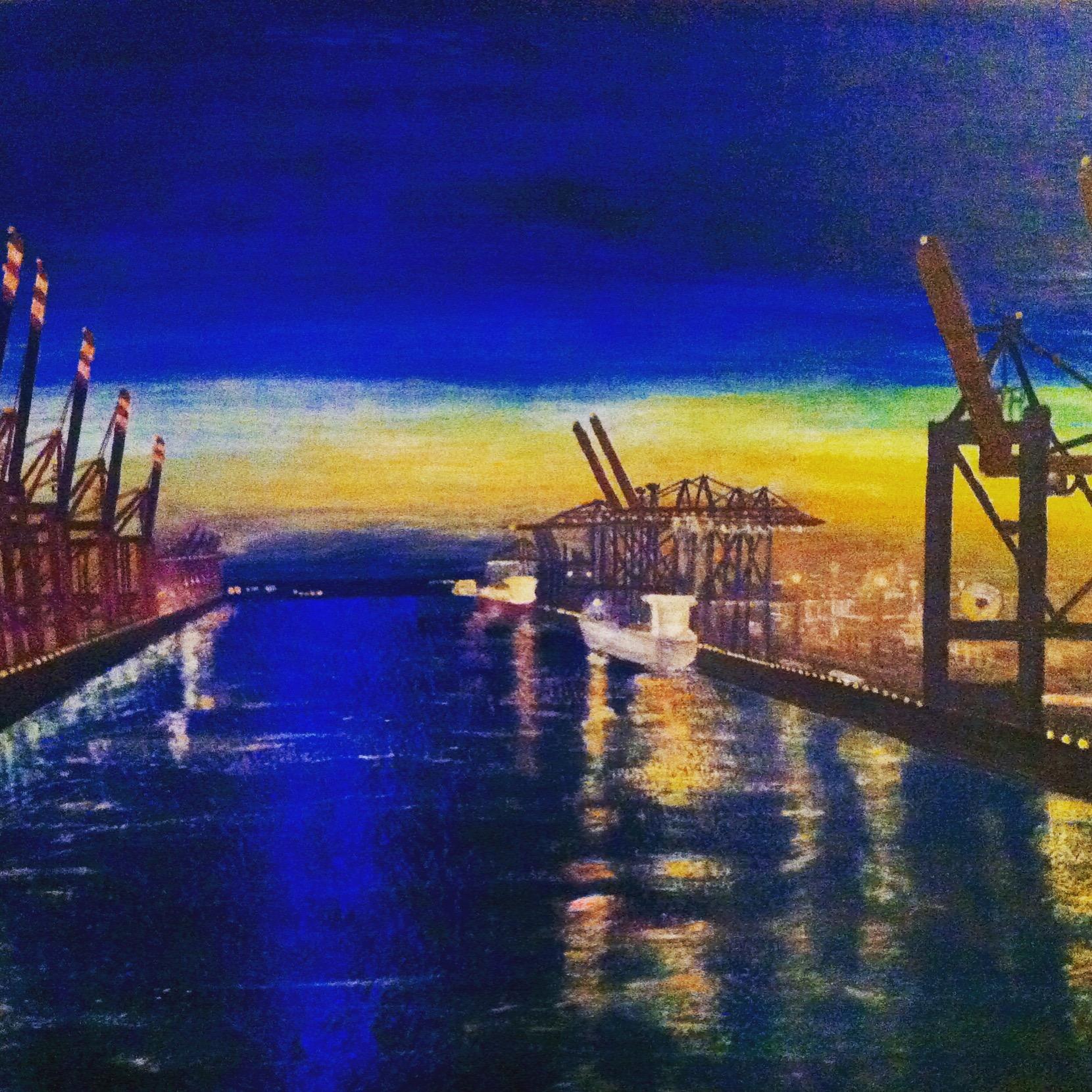 Acrylbild Hamburger Hafen