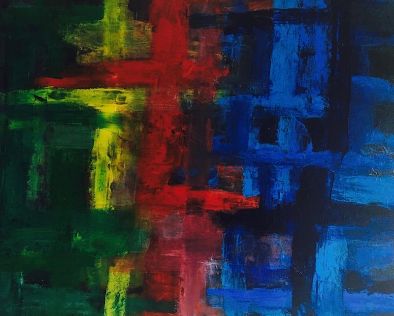 Acrylbild grundfarben abstrakt