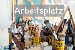 arbeitsplatz acrylmalerei